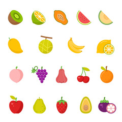 Color icon set - fruit