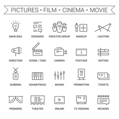 Icons of movie, film, cinema, pictures area. Linear, black.