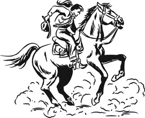 Black and white vintage comic ink sketch of a Western Cowgirl riding a wild horse