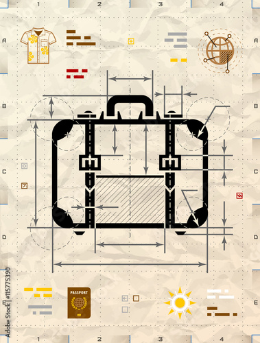 Suitcase silhouette as technical blueprint drawing drafting of suitcase silhouette as technical blueprint drawing drafting of travel bag on crumpled kraft paper malvernweather Image collections