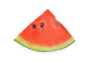 sliced red watermelon with seed on white background