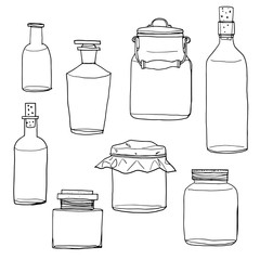 vector set of  hand drawn empty jars and bottles vintage line ar