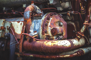 Detail of an old Diesel engine
