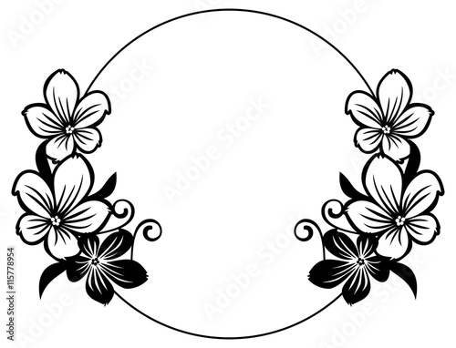 u0026quot black and white round frame with abstract flowers