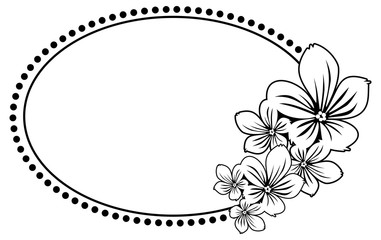 Black and white oval frame with abstract flowers silhouettes. Vector clip art.
