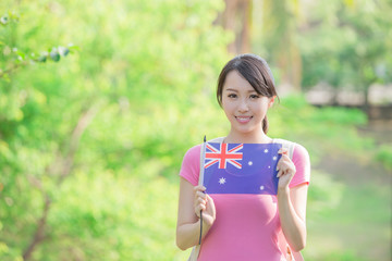 Happy girl hold australian flag