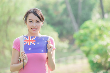 Happy girl hold australian flag
