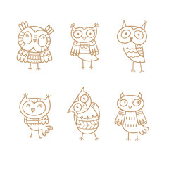 Cartoon cute owls set. Six little funny birds. Children's illustration. Vector contour image no fill.