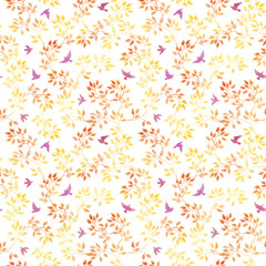 Autumn leaves and cute birds. Watercolor seamless pattern