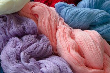 Close up Pile of Silk Threads