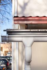 Closeup of Rain gutter system on a roof