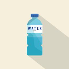 Single Water Plastic Bottle Flat Deign Vector Illustration.
