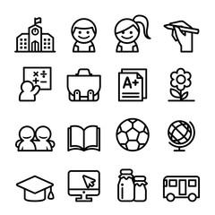 School icon set , thin line icon vector illustration