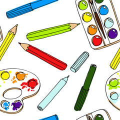 Pencils, paint,  brush and palette palette. Back to school illus