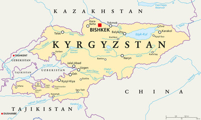 Kyrgyzstan political map with capital Bishkek, national borders, important cities, rivers and lakes. Kyrgyz Republic, formerly known as Kirghizia. Landlocked country in Central Asia. English labeling.