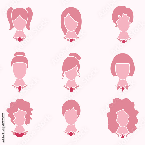 Lady Fashion Style With Hair And Jewelry Icon Set Vector Fichier Vectoriel Libre De Droits