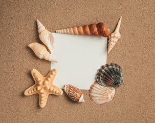 Summer. Summer background. Summer accessories, Summer concept . Starfish with sand as background. Sand texture