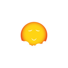 Orange sun in clouds. Sleeping orange sun. Cute picture of sun. Vector sun head. Gingerbread Man. Smiling sun. Logo of the sun. Yellow sun. Laughing sun. Sun goes to sleep. Vector sun. Sunny sun icon.