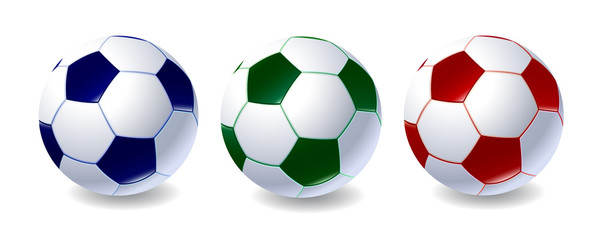 Set of soccer balls of different colors