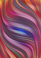 Motley background collected from overlay curved shimmering  wavy stripes