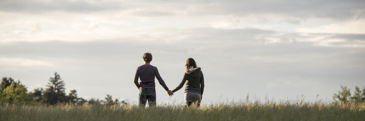 Panoramic view on couple holding hands in field