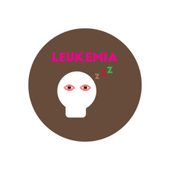 Vector icon  on  circle various symptoms of leukemia on the human