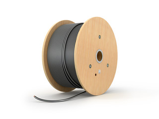 Wooden coil of electric cable isolated white background. 3D illu