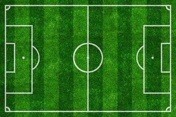 soccer field top view with green natural grass / Fußballplatz draufsicht mit grünem natürlichem Rasen