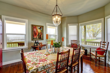 Classic American dining area connected to kitchen.