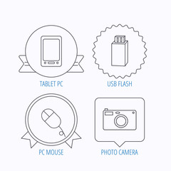 Tablet PC, USB flash and photo camera icons.