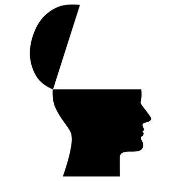 Menschlicher Kopf von der Seite mit aufgeklapptem Schädel – schwarz-weiß, Vektor, freigestellt