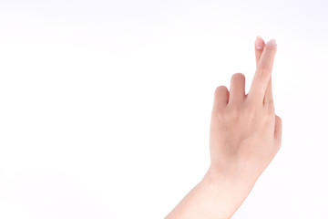 finger hand symbols isolated concept Cross and lie conceptual on white background