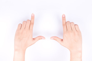finger hand symbols concept framing composition for taking a photo isolated on white background