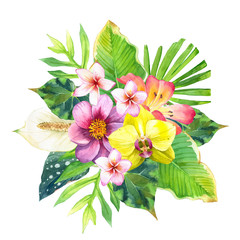Watercolor illustration with tropical flowers. Square frame.