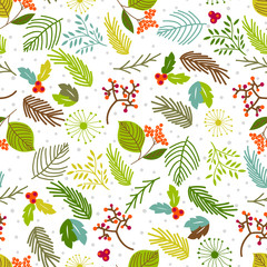 Seamless vector pattern with floral elements. Vintage hand drawn floral background. Holiday card.