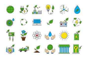 Colorful eco vector icons set