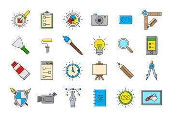 Colorful graphic design vector icons set