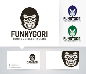 Search photos monkey logo funny gorilla vector logo with alternative colors and business card template reheart Gallery