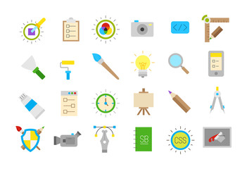 Graphic design isolated vector icons set