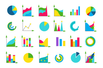 Isolated charts vector icons set