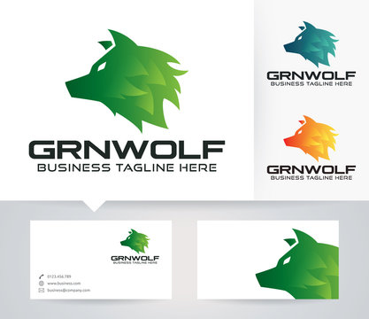 Green Wolf vector logo with alternative colors and business card template