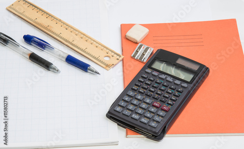 The Concept Of Learning Shown With A Calculator Pens On A