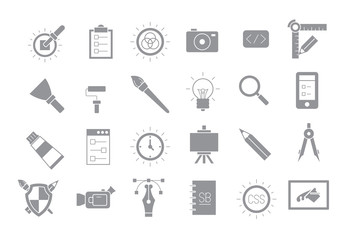 Set of 24 graphic design gray vector icons