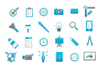 Graphic design gray-blue vector icons set