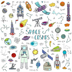 Hand drawn doodle Space and Cosmos set. Vector illustration. Universe icons. Solar system symbols collection. Rocket, Space ship, Planets, Galaxy, Milky Way, Astronaut, Tech freehand elements