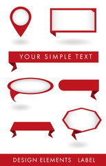 set of labels of red color of different geometric shapes. It is used on the site, banner, brochure, flyers