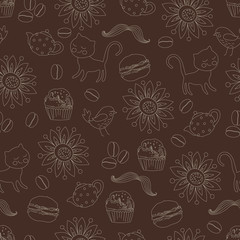 seamless pattern, hipster party
