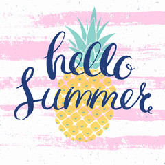 hello summer card with pineapple