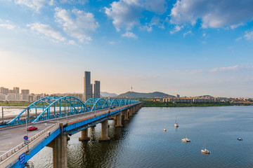 Sunset of Dongjak Bridge and Han river in Seoul City ,South kore