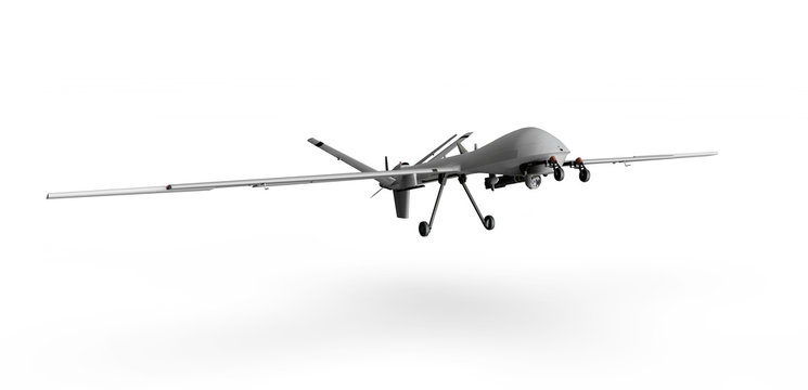 Military Predator Drone on a white background 3d render